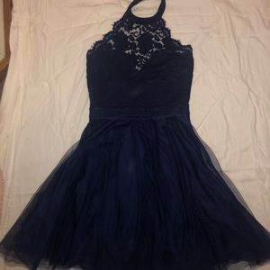 Dresses - blue/navy high neck lace dress